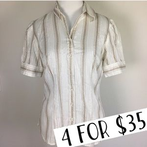 Ann Taylor LOFT white and gold button down…